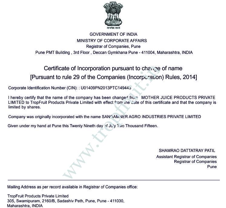 Tropfruit Products Pvt  Ltd